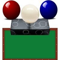 Bilie-biglie biliardo carambola (tavolo senza buche) OAH diametro mm.61,5 tre bilie nei colori blu, bianco e rosso.