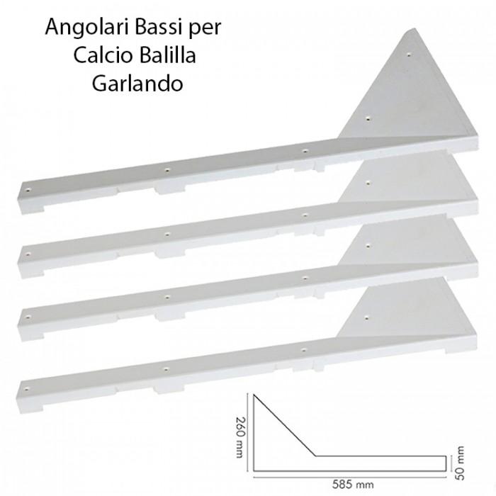 Calcio Balilla angolari professionali per calcetto da esterno, con piano in legno o MDF (non vetro). Completo 4 pezzi lunghezza cm. 58,00