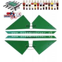 Calcio Balilla ricambi Roberto Sport angolari ferma vetro 8 pezzi,4 angoli e 4 liste,  per tutti i modelli, serigrafati Roberto Sport.