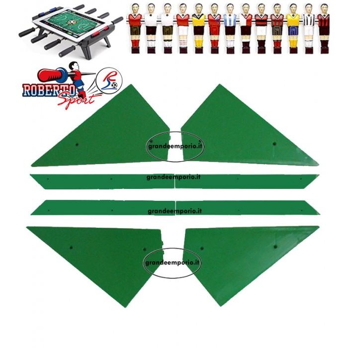 Calcio Balilla ricambi Roberto Sport  angolari ferma vetro 8 pezzi, 4 angoli e 4 liste, in plastica verde, adatti a tutti i modelli.