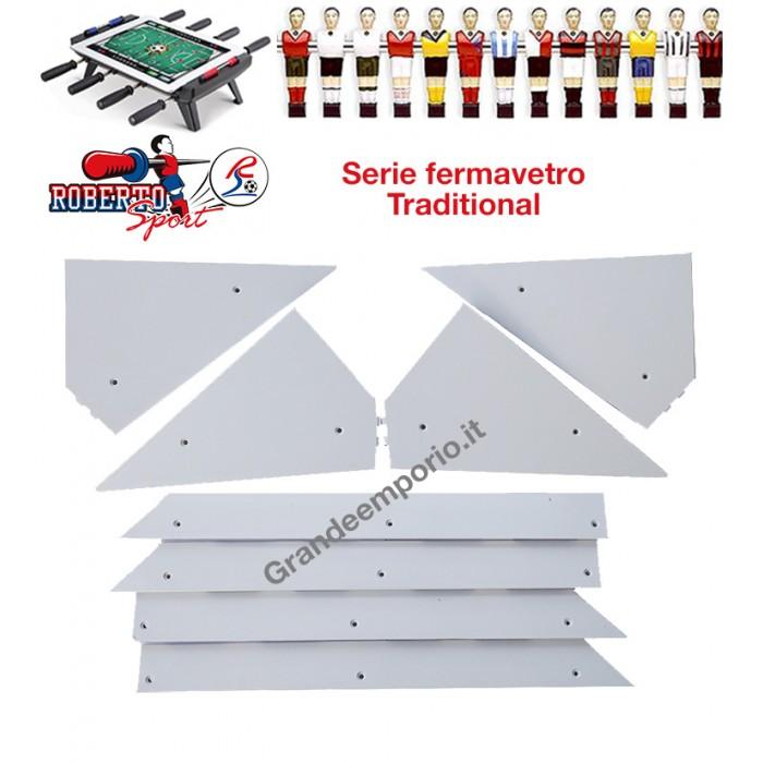 Calcio Balilla ricambi Roberto Sport  angolari ferma vetro 8 pezzi, 4 angoli e 4 liste, in plastica bianca, adatti a tutti i modelli.