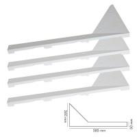 Calcio Balilla Angolari bassi, bianchi in plastica 4 pezzi (2dx, 2sx). Dimensioni altezza mm.20; lunghezza mm.585; larghezza, 260/50. Per calcio balilla delle linee Garlando.