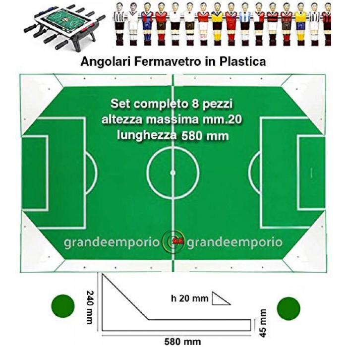 Calcio Balilla angolari ferma vetro serie 8 pezzi, 4 sx. e 4 dx, altezza massima cm. 2, lunghezza mm.580, in plastica bianca.