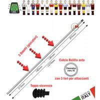 Calcio Balilla asta passante (uscente) forata. 3 fori per 3 giocatori (attaccanti). Asta in acciaio cromato, lunghezza mm.1070, diametro mm.16 con tappo sicurezza.