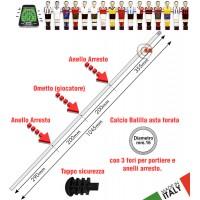 Calcio Balilla asta passante (uscente) forata. 3 fori per 1 giocatore portiere e 2 anelli d'arresto. Asta in acciaio cromato lunghezza mm.1045, diametro mm.16 con tappo sicurezza.