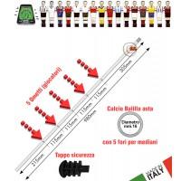 Calcio Balilla asta passante (uscente) forata. 5 fori per 5 giocatori (mediani). Asta in acciaio cromato, lunghezza mm.980, diametro mm.16 con tappo sicurezza.