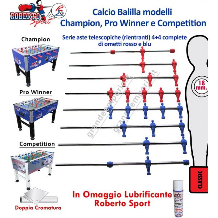 Calcio Balilla Roberto Sport mod.li Champion, Pro Winner e Competition. 1393 serie 4+4 aste telescopiche, diametro mm.18, in acciaio temperato e carbonio, lunghezza mm.840 con ometti. Lubrificante in omaggio.