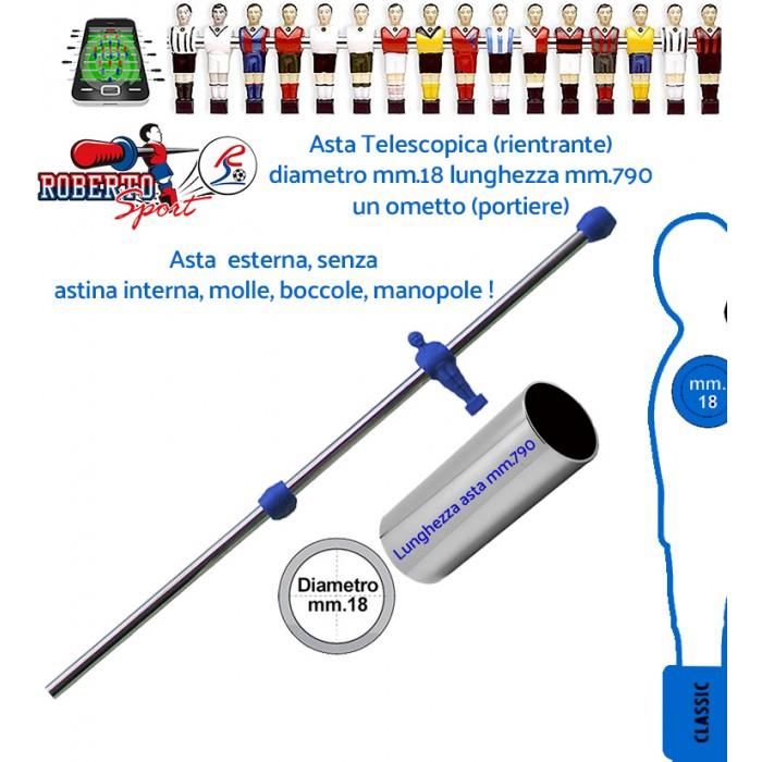 Calcio Balilla ricambi Roberto Sport asta telescopiche rientranti 1 ometto blu (portiere)  mm 790 diametro mm 18. Adatta per modelli College Lift, College Pro, Export, Flexy, New camp e Traditional.1313