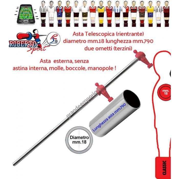 Calcio Balilla ricambi Roberto Sport aste telescopiche rientranti 2 ometti rossi (terzini)  mm 790 diametro mm 18. Adatta per modelli College Lift, College Pro, Export, Flexy, New camp e Traditional.1314
