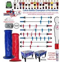 Calcio Balilla Roberto Sport mod.li Champion e Pro Winner. 1396 serie 4+4 aste telescopiche, mm.18, in acciaio temperato e carbonio, mm.840 con ometti, molle, boccole, astine e manopole. Lubrificante in omaggio.