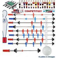 Roberto Sport serie completa aste telescopiche rientranti per calcio balilla Roberto Sport Competition omologato FICB. Palline in omaggio.