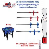 Calcio Balilla Roberto Sport modello Roby, serie 2+2 aste 1744 telescopiche, diametro mm.16, lunghezza m.460, con ometti. Lubrificante in omaggio.