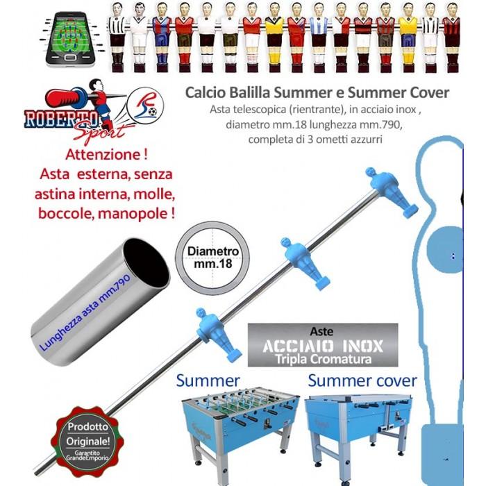 Calcio balilla Roberto Sport Summer e Summer Cover asta telescopica (rientrante) con 3 ometti azzurri (attaccanti) Asta in acciaio tripla cromatura, m.790 italy, diametro m.18, senza molle, boccole, astina interna e manopola.