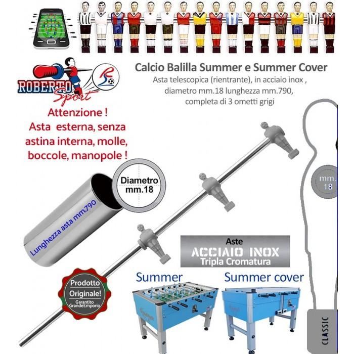 Calcio balilla Roberto Sport Summer e Summer Cover asta telescopica (rientrante) con 3 ometti grigi (attaccanti) Asta in acciaio tripla cromatura, m.790 italy, diametro m.18, senza molle, boccole, astina interna e manopola.