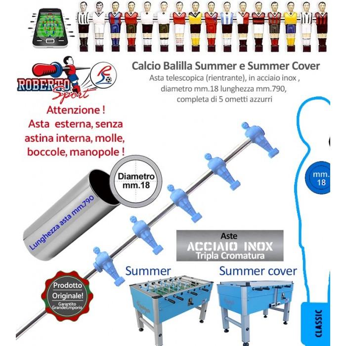 Calcio balilla Roberto Sport Summer e Summer Cover asta telescopica (rientrante) con 5 ometti azzurri (mediani) Asta in acciaio tripla cromatura, m.790 italy, diametro m.18, senza molle, boccole, astina interna e manopola.