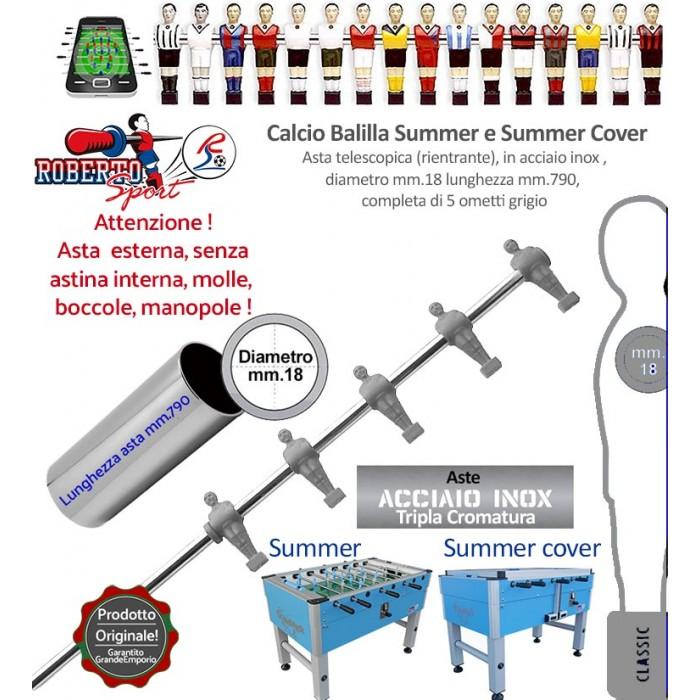 Calcio balilla Roberto Sport Summer e Summer Cover asta telescopica (rientrante) con 5 ometti grigi  (mediani) Asta in acciaio tripla cromatura, m.790 italy, diametro m.18, senza molle, boccole, astina interna e manopola.