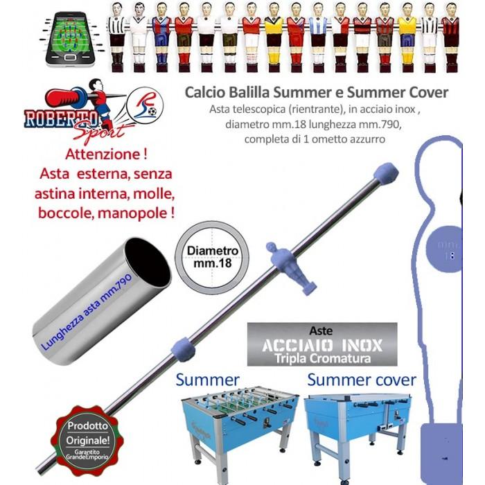 Calcio balilla Roberto Sport Summer e Summer Cover asta telescopica (rientrante) con un ometto azzurro (portiere) Asta in acciaio tripla cromatura, m.790 italy, diametro m.18, senza molle, boccole, astina interna e manopola.