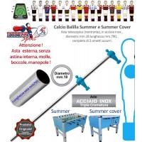 Calcio balilla Roberto Sport Summer e Summer Cover asta telescopica (rientrante) con 2 ometti azzurri (terzini) Asta in acciaio tripla cromatura, m.790 italy, diametro m.18, senza molle, boccole, astina interna e manopola.