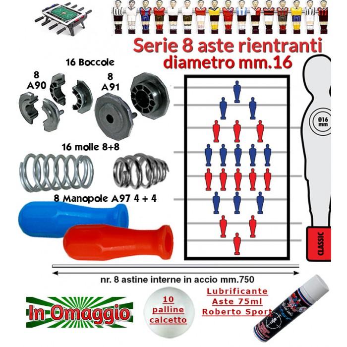Calcio Balilla serie otto (8) aste rientranti diametro mm.16, con otto (8) astine interne, otto (8) manopole A97, sedici (16) boccole e sedici (16) molle. In omaggio 10 palline calcetto e lubrificate aste