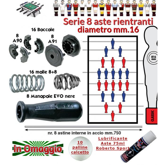 Calcio Balilla serie otto (8) aste rientranti diametro mm.16, con otto (8) astine interne, otto (8) manopole Evo, sedici (16) boccole e sedici (16) molle. In omaggio 10 palline calcetto e lubrificante aste.