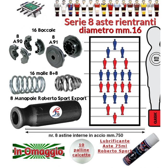 Calcio Balilla serie otto (8) aste rientranti diametro mm.16, con otto (8) astine interne, otto (8) manopole Roberto Sport Export, sedici (16) boccole e sedici (16) molle. In omaggio 10 palline calcetto e lubrificante aste.