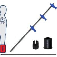 Calcio Balilla asta telescopica (rientrante) universale, diametro mm.16, completa di astina interna in acciaio. Asta attaccanti con ometti, pressofusi in polipropilene blu.