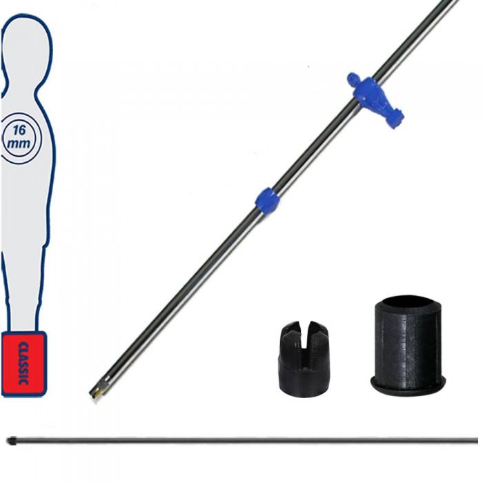 Calcio Balilla asta telescopica (rientrante) universale, diametro mm.16, completa di astina interna in acciaio. Asta portiere con ometto, pressofuso in polipropilene blu.