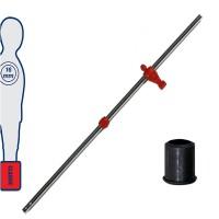 Calcio Balilla asta telescopica (rientrante) universale, diametro mm.16. Asta portiere con ometto pressofuso in polipropilene rosso. Senza astina interna.