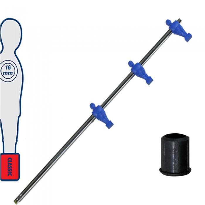 Calcio Balilla asta telescopica (rientrante) universale, diametro mm.16. Asta Attaccanti con 3 ometti pressofusi in polipropilene, blu. Senza astina interna.