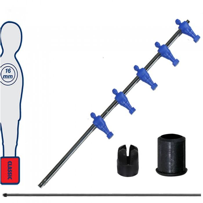 Calcio Balilla asta telescopica (rientrante) universale, diametro mm.16, completa di astina interna in acciaio. Asta mediani con ometti, pressofusi in polipropilene blu.