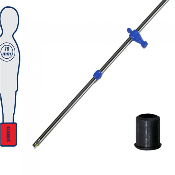 Calcio Balilla asta telescopica (rientrante) universale, diametro mm.16. Asta portiere con ometto, pressofuso in polipropilene, blu. Senza astina interna.
