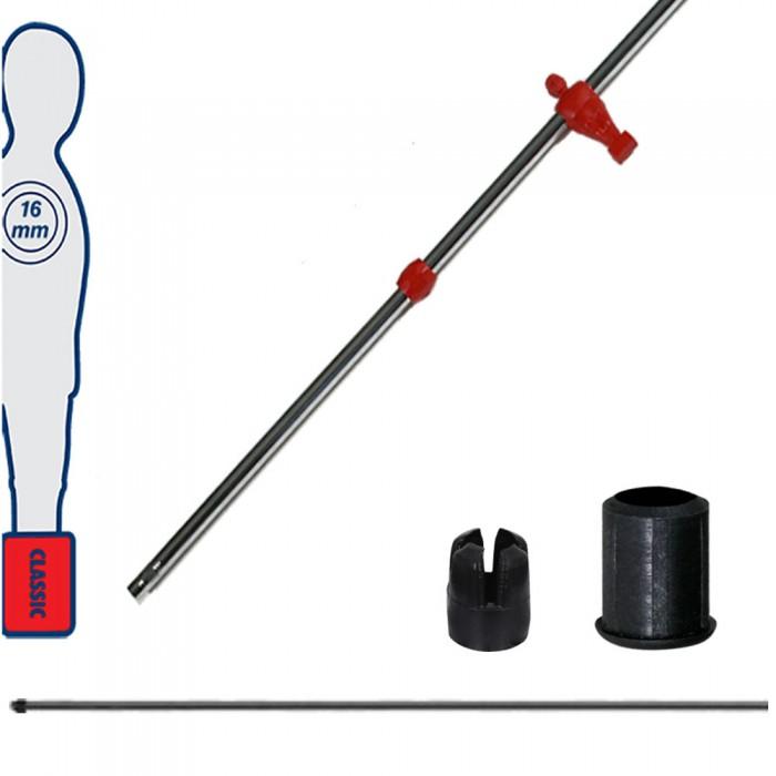Calcio Balilla asta telescopica (rientrante) universale, diametro mm.16. completa di astina interna in acciaio. Asta portiere con ometto, pressofuso in polipropilene rosso.