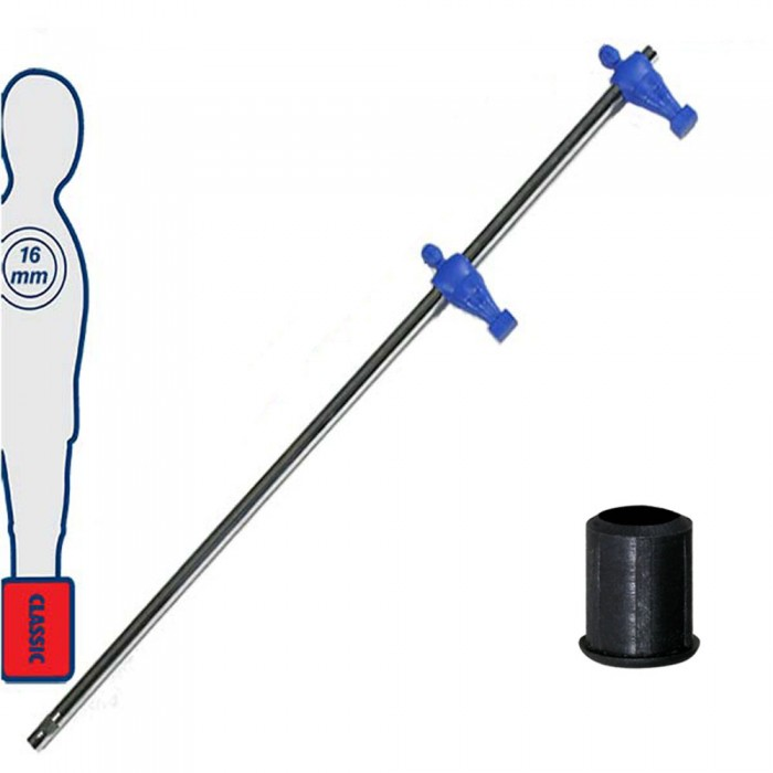 Calcio Balilla asta telescopica (rientrante) universale, diametro mm.16. Asta terzini con 2 ometti pressofusi in polipropilene, blu. Senza astina interna.