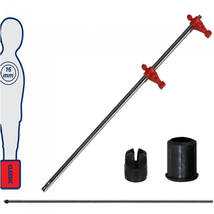 Calcio Balilla asta telescopica (rientrante) universale, diametro mm.16, completa di astina interna in acciaio. Asta terzini con ometti, pressofusi in polipropilene rossi.