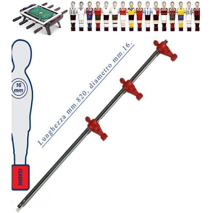Calcio Balilla asta telescopica (rientrante) universale, diametro mm.16. Asta Attaccanti con 3 ometti pressofusi in polipropilene, rossi. Senza astina interna.