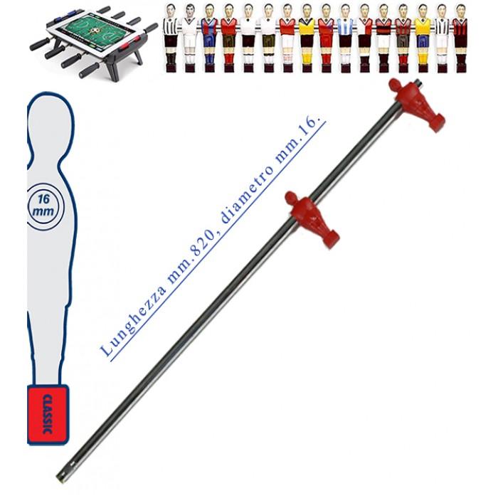 Calcio Balilla asta telescopica (rientrante) universale, diametro mm.16. Asta terzini con 2 ometti pressofusi in polipropilene, rossi.