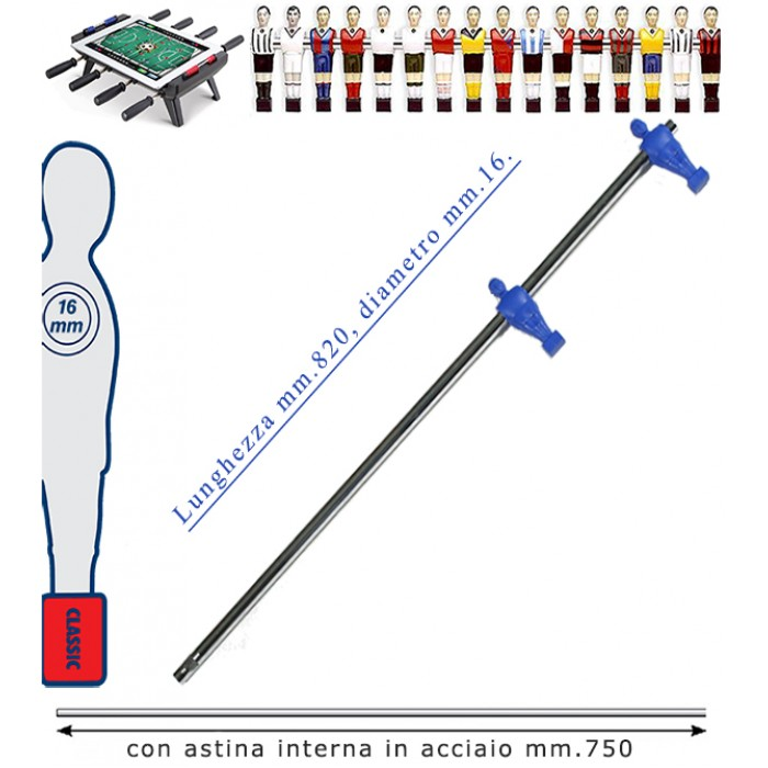 Calcio Balilla asta telescopica (rientrante) universale, diametro mm.16, completa di astina interna in acciaio. Asta terzini con ometti, pressofusi in polipropilene blu.