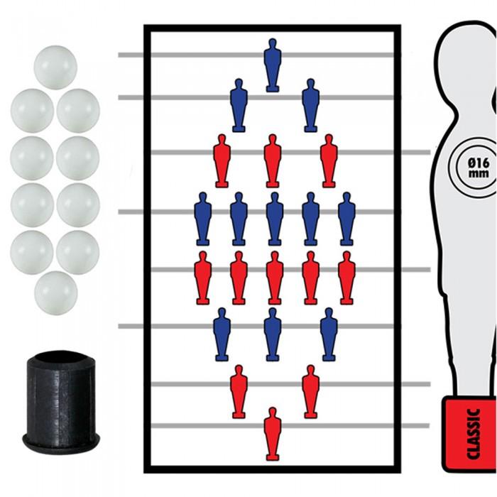 Calcio Balilla serie completa di otto (8) aste rientranti-telescopiche diametro mm.16, senza astina interna in acciaio. In omaggio 10 palline calcetto.