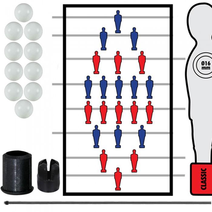 Calcio Balilla serie completa di otto (8) aste rientranti-telescopiche diametro mm.16, con otto (8) astine interne in acciaio. In omaggio 10 palline calcetto.