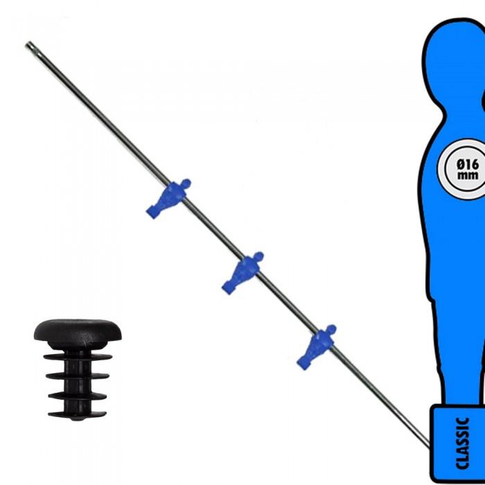 Calcio Balilla asta singola passante (uscente) universale Attaccanti, con tre ometti Blu. Asta diametro mm.16, lunghezza cm.107.