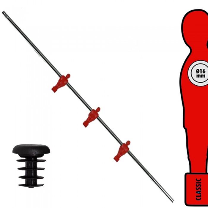 Calcio Balilla asta singola passante (uscente) universale Attaccanti, con tre ometti rossi. Asta diametro mm.16, lunghezza cm.107.