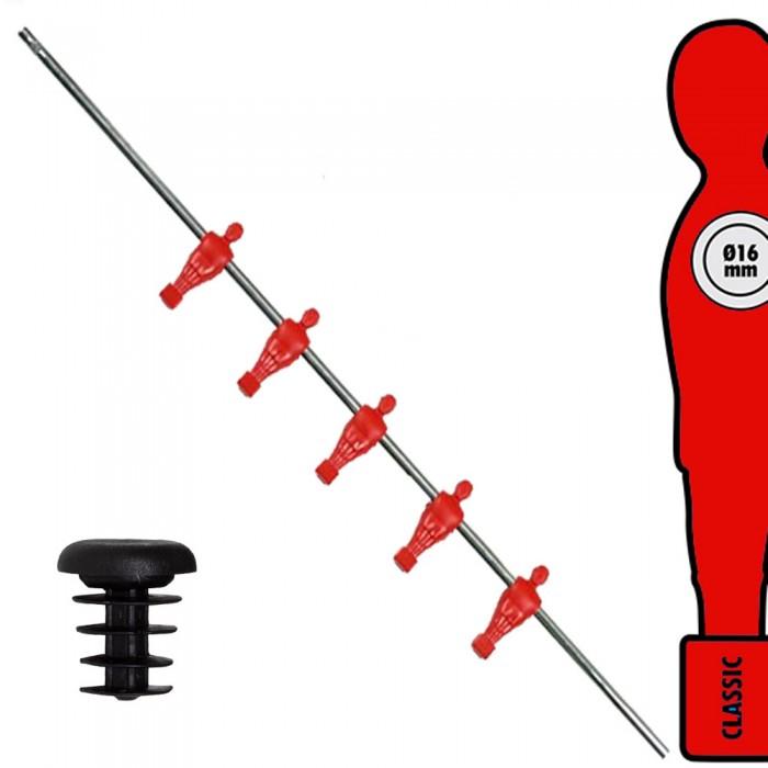 Calcio Balilla asta singola passante (uscente) universale mediani, con 5 ometti rossi. Asta diametro mm.16, lunghezza cm.98.
