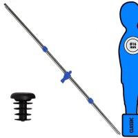 Calcio Balilla asta singola passante (uscente) universale portiere, con ometto blu. Asta diametro mm.16, lunghezza cm.104,5.