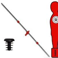 Calcio Balilla asta singola passante (uscente) universale portiere, con ometto rosso. Asta diametro mm.16, lunghezza cm.104,5.