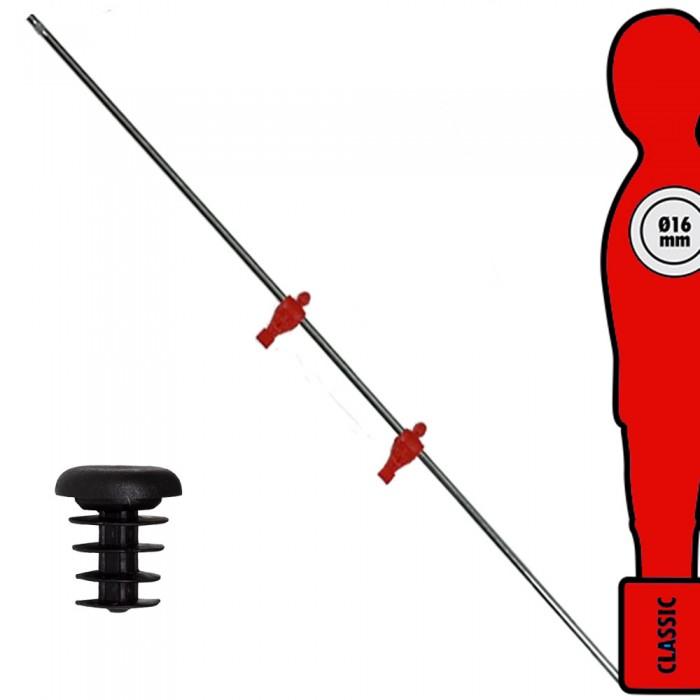 Calcio Balilla asta singola passante (uscente) universale terzini, con 2 ometti rossi. Asta diametro mm.16, lunghezza cm.121.