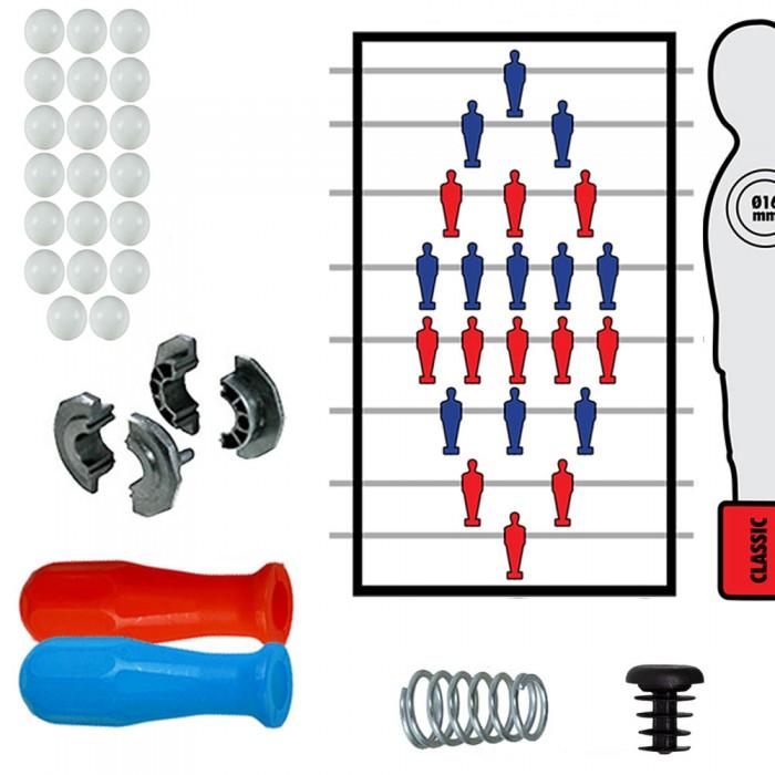 Calcio Balilla serie completa otto (8) aste passanti uscenti diametro mm.16, con molle, boccole, manopole A73 blu e rosse, tappi e palline in omaggio.