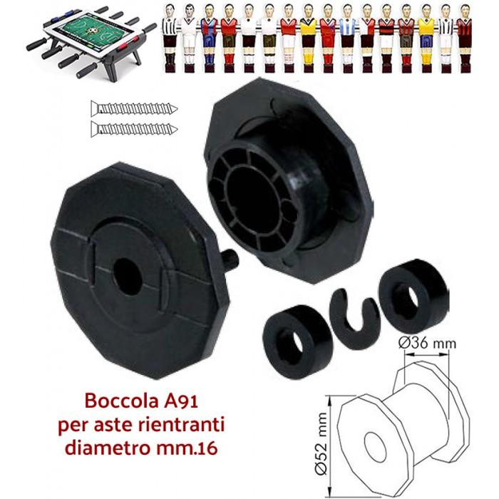 Calcio Balilla boccole A91 per calcio balilla ad aste rientranti telescopiche diametro mm.16 confezione 8 boccole complete.