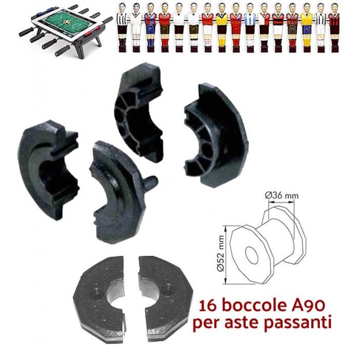 Calcio Balilla ricambi confezione sedici (16) boccole A90 per calcetto con aste uscenti diametro mm.16.