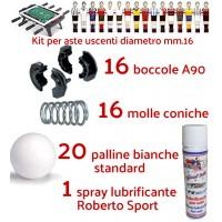 Calcio Balilla ricambi kit con 16 boccole e 16 molle per aste uscenti diametro mm.16, 20 palline bianche standard  e una confezione lubrificante spray Roberto Sport.
