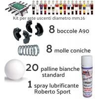 Calcio Balilla ricambi. Kit con 8 boccole e 8 molle per aste uscenti diametro mm.16, 20 palline bianche standard  e una confezione lubrificante spray Roberto Sport.